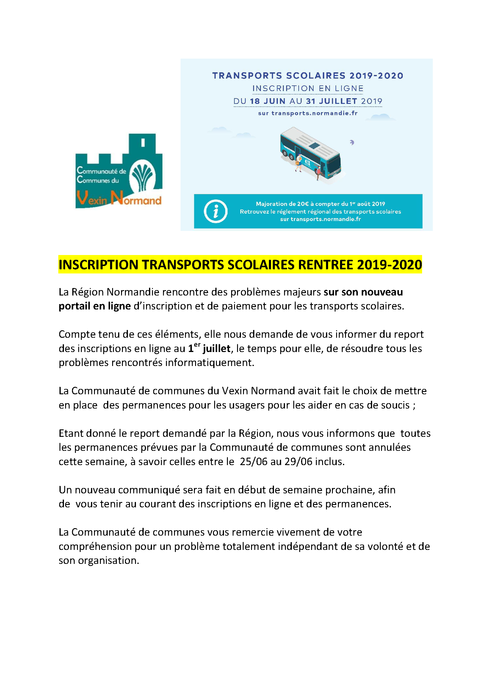 INSCRIPTION TRANSPORTS SCOLAIRES RENTREE 2019